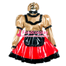 Sissy Maid Pvc Dress Lockable Uniform Cosplay Costume Tailor-Made[G3737]
