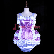 Adult baby lilac satin Romper Unisex tailor-made[G3848]