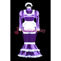 lockable Sissy Maid Satin dress Fish Tail unisex CD/TV Tailor-made[G3843]