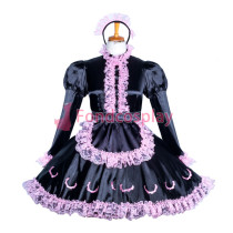 Lockable Satin-Lace sissy maid dress Tailor -Made[G3861]