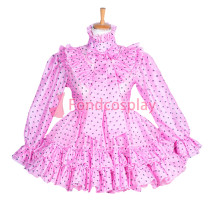 Lockable pink dots Organza glass silk sissy maid dress Tailor -Made[G3857]