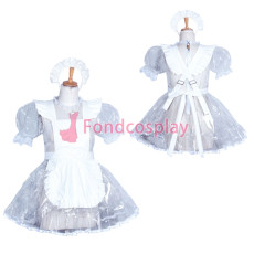 Lockable clear PVC sissy maid dress CD/TV Tailor -Made[G3856]