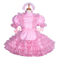 Lockable pink Satin-embroidered lace sissy maid dress Tailor -Made[G3858]