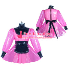 hot pink clear PVC lockable sissy maid dress Tailor-made[G3863]
