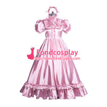 Lockable satin long sissy dress gothic lolita Tailor-made [G3864]