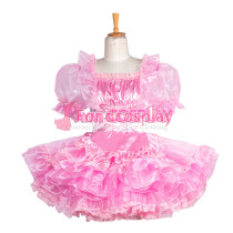 lockable pink Satin-Organza Sissy Maid dress Tailor-made [G3860]