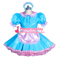 Lockable PVC sissy maid light blue dress Tailor-made[G3868]