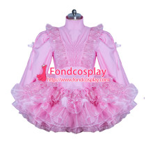 Sissy maid lockable pink Satin-lace dress cosplay costume Tailor-made[3862]