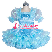 lockable blue Satin-glass silk Sissy Maid  dress Tailor-made [G3866]