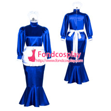 Satin lockable Sissy Maid long fishtail dress Tailor-made [G3867]