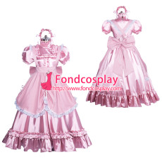 Lockable satin long sissy dress gothic lolita Tailor-made [G3865]