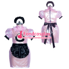 lockable pink clear PVC sissy maide dress unisex Tailor-made[G3874]