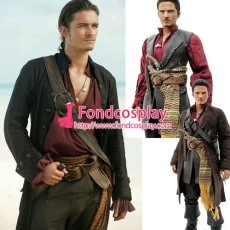 Pirates Of The Caribbean-Jack Sparrow Costume Johnny Depp Moive Cosplay Tailor-Made[G1431]