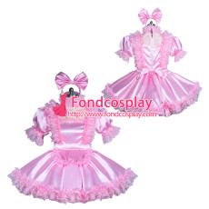 lockable pink Satin-glass silk sissy maid dress unisex Tailor-made[G3880]