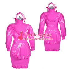 hotpink PVC sissy maid dress lockable unisex Tailor-made[G3877]
