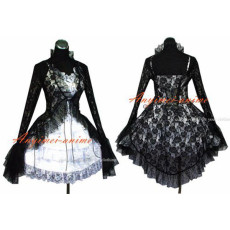 Sissy Maid Gothic Lolita Punk Lack Dress Cosplay Costume Custom-Made[G480]