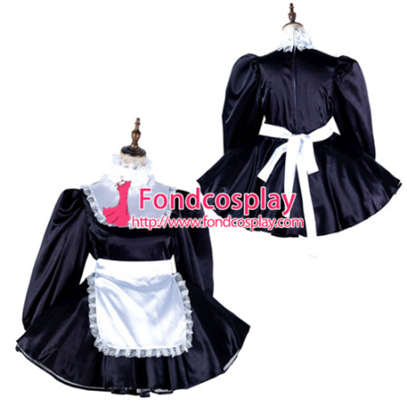 Sissy Maid Satin Dress Lockable Uniform Cosplay Costume Tailor-Made[G2136]
