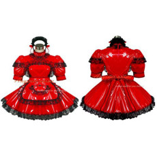 Sexy Sissy Maid Pvc Dress Red Lockable Uniform Cosplay Costume Tailor-Made[G432]