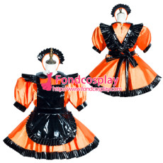 Sissy Maid Satin Dress Pvc Apron Lockable Uniform Cosplay Costume Tailor-Made[G3769]