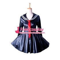 Sissy Maid Dress Sex Faux Leather School Uniform Dress Cosplay Costume Tailor-Made[G1353]