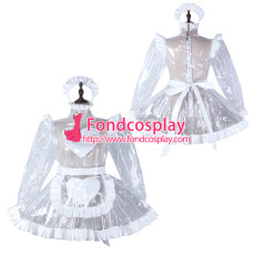 Sissy Maid Clear Pvc Dress Lockable Uniform Cosplay Costume Tailor-Made[G2298]