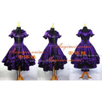 Gothic Lolita Chobits Chii Grape Purple Satin Dress Cosplay Costume Tailor-Made[G666]