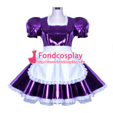 Sissy Maid Dress Lockable Purpel Pvc French Uniform Cosplay Costume Custom-Made[G912]
