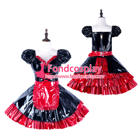 Sissy Maid Pvc Dress Lockable Uniform Cosplay Costume Tailor-Made[G2287]