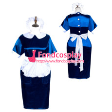 sissy maid button satin dress unisex Tailor-made[G3887]