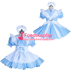 lockable blue sissy maid cotton dress unisex Tailor-made[G3886]