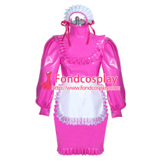 lockable hot pink PVC sissy maid dress unisex Tailor-made[G3888]