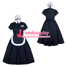 black Cotton lockable sissy maid dress unisex Tailor-made[G3894]