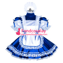 lockable blue sissy maid satin dress unisex Tailor-made[G3891]