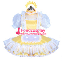 lockable yellow sissy maid satin dress unisex Tailor-made[G3899]