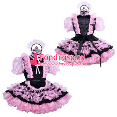 lockable black-pink sissy maid satin dress unisex Tailor-made[G3898]