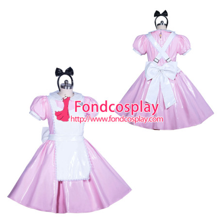 lockable pink heavy PVC Alice sissy maid dress cosplay Tailor-made[G3912]