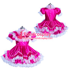 lockable lolita dress Sissy maid Satin cosplay costume Tailor-made[G3929]