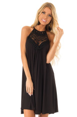 Neck lace pocket topless dress