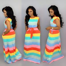 Leisure Rainbow Striped Dress