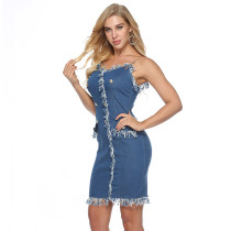 Deep V-necktie jeans hip-button sexy dress