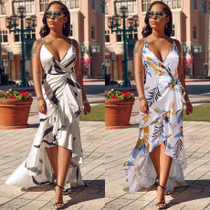 Irregular Fishtail Ink Printed Dress