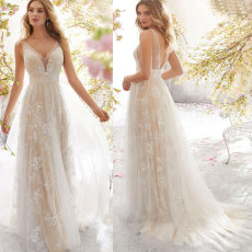 Sexy V-collar sleeveless wedding dress