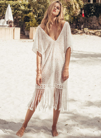 Beach blouses with loose lace fringes