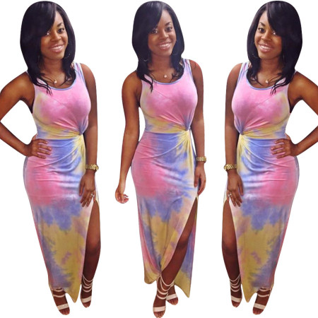 Tie-dyed collision dress