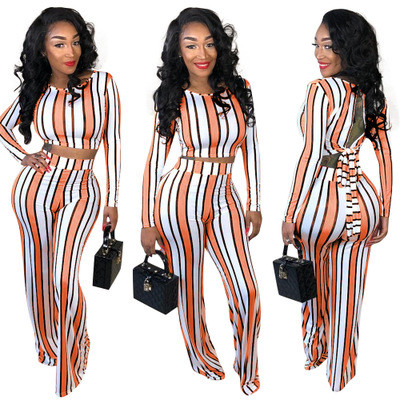 Striped printed broad-legged trousers two-piece suit