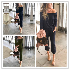 Fashion long sleeve pocket laced Jumpsuits