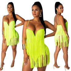 Suspended fringed suit skirt sexy European and American nightclub two sets