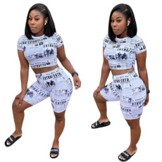 Newspaper Sexy Printed Shorts Two-piece Set