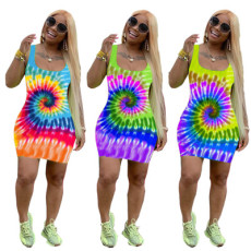 Tie-dye positioning printed sexy suspender dress