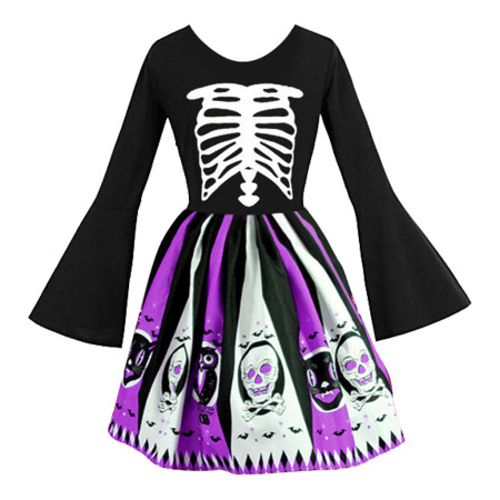 Printed Skull Halloween Flared Sleeve Dress